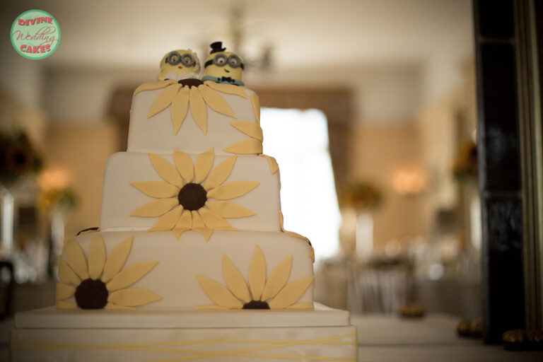Fondant iced cake with sugar sunflowers