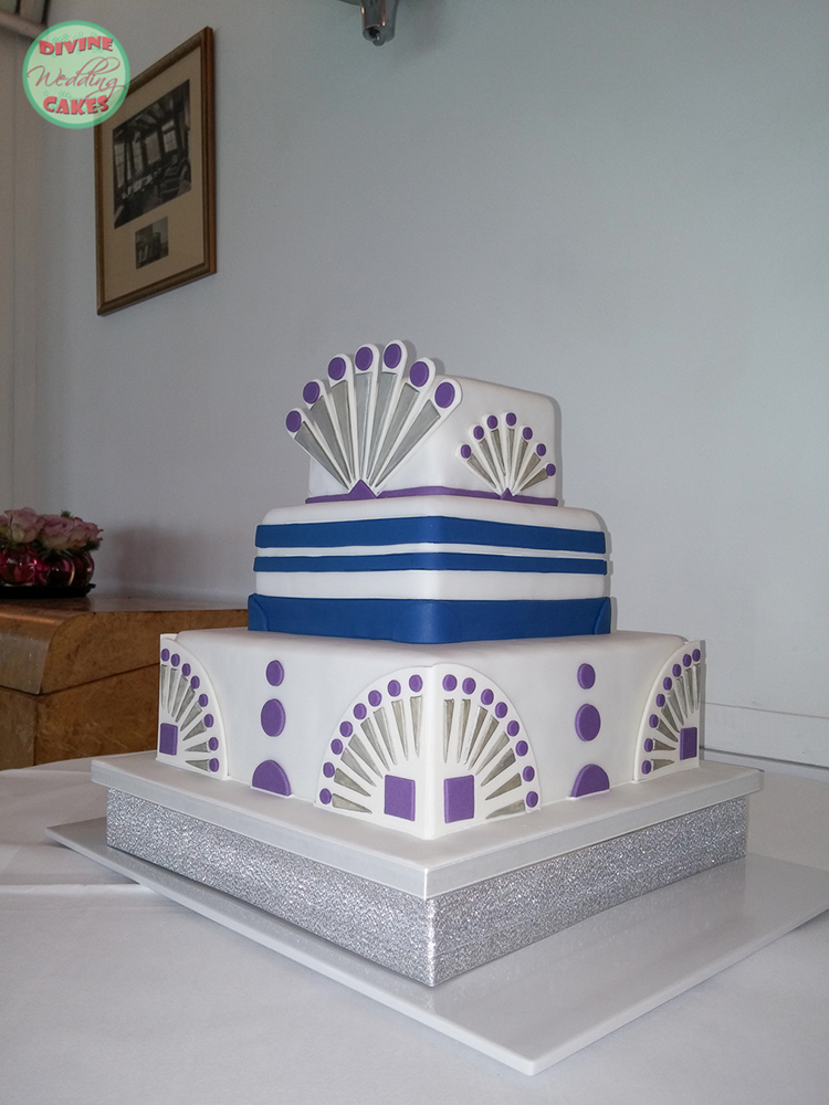 a wedding cake with an art deco style for the Burgh island venue