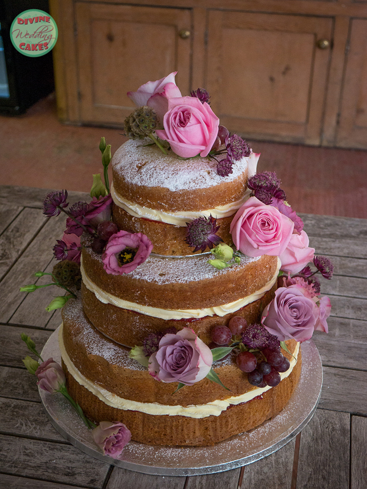 Naked Wedding Cake with fresh roses & grapes