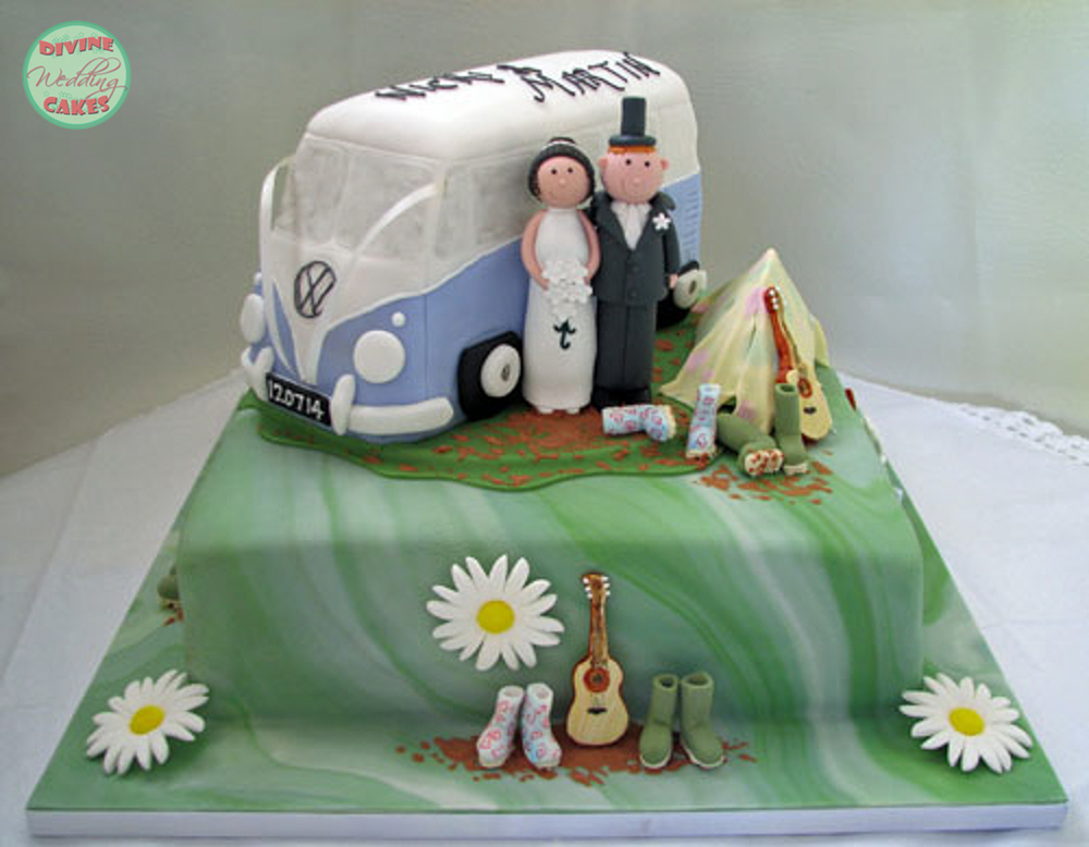 a camper van wedding cake with festival theme