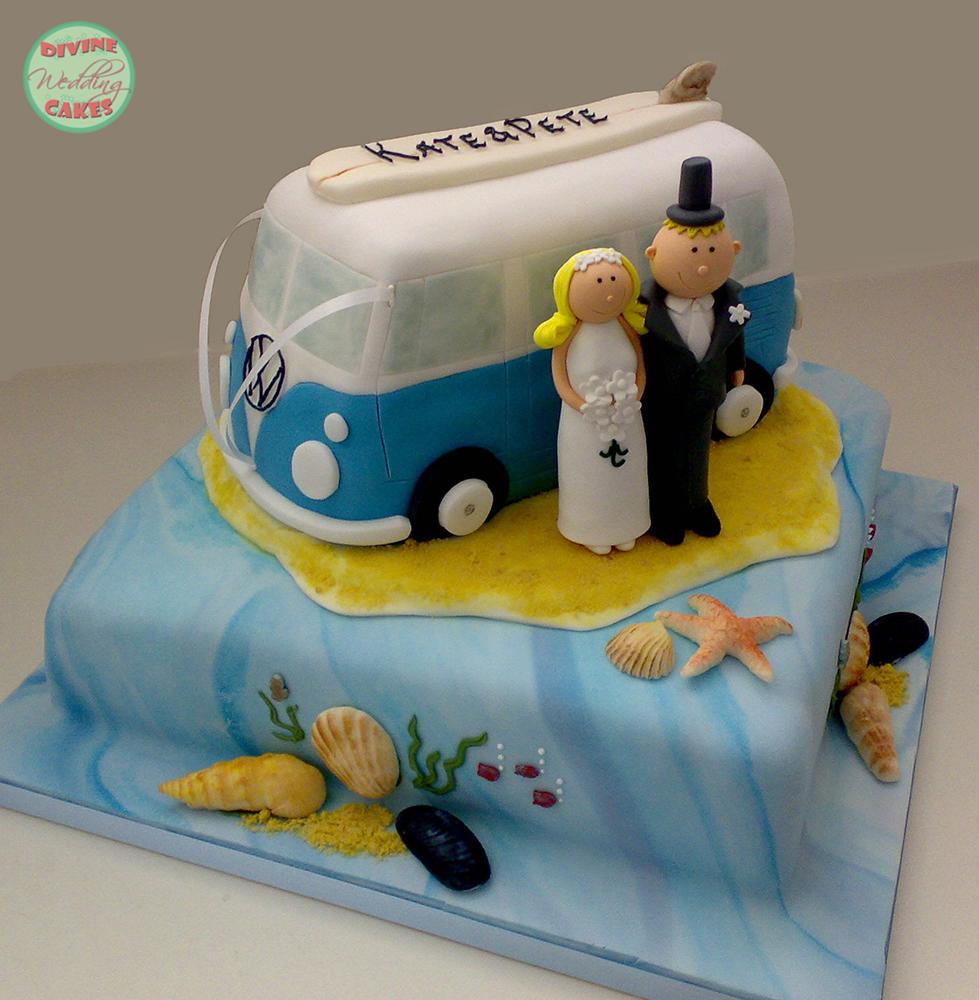 a wedding cake in the shape of a classic volkswagen camper van