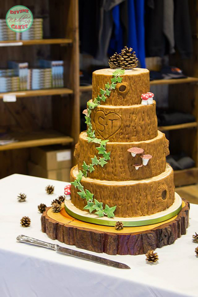 a wedding cake in a rustic style looking like tree slices