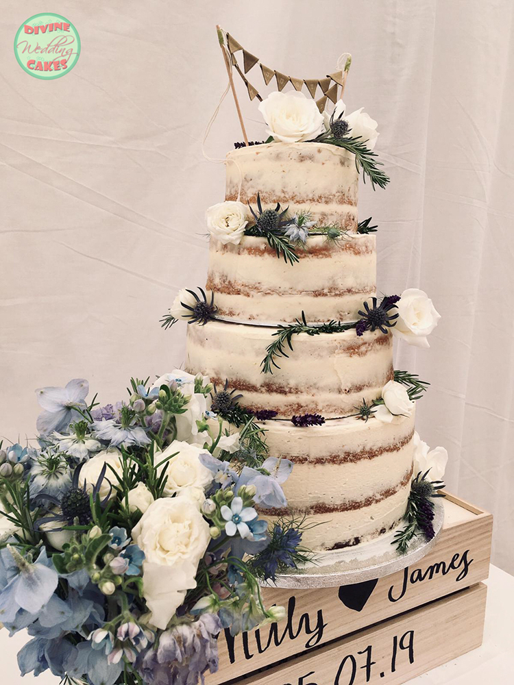 Semi-naked cake on a personalised wooden crate
