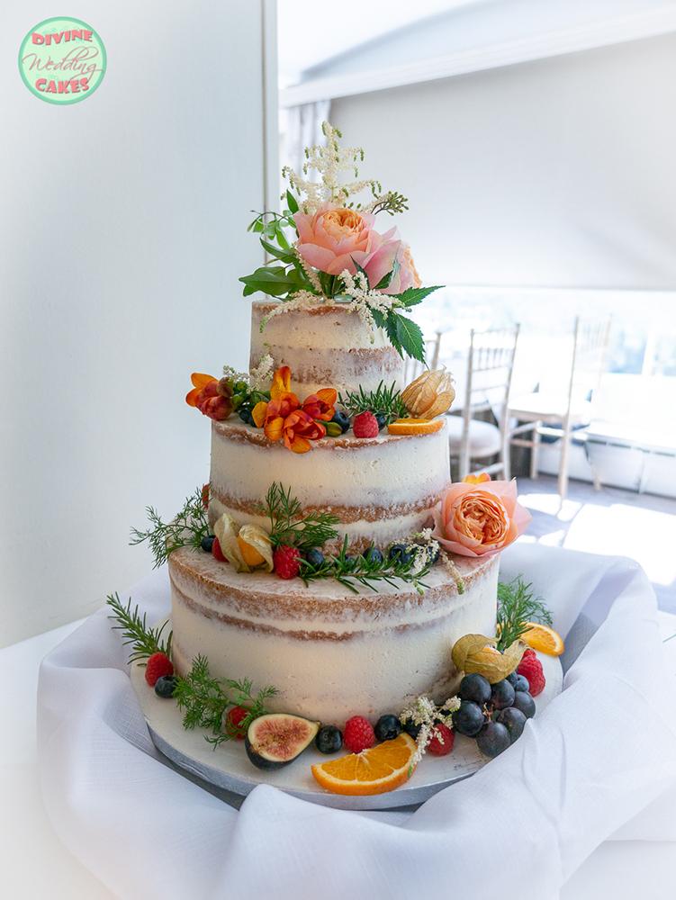 Semi-naked cake with fresh flowers & fruits