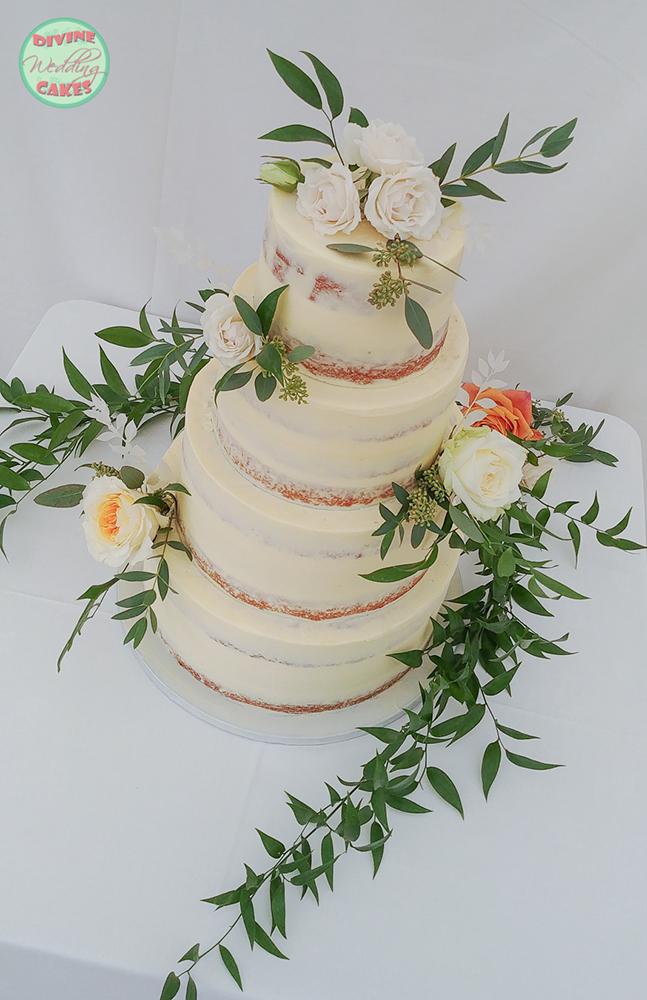 Semi-naked cake with roses & foliage