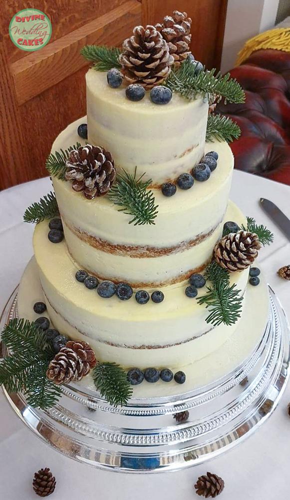 semi naked wedding cake with a christmas theme
