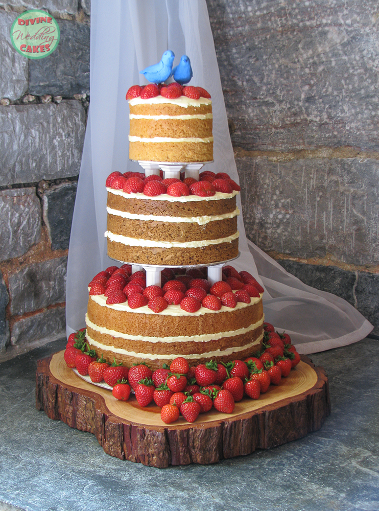 Naked cake covered with strawberries